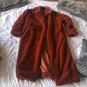 rust soft teddy coat